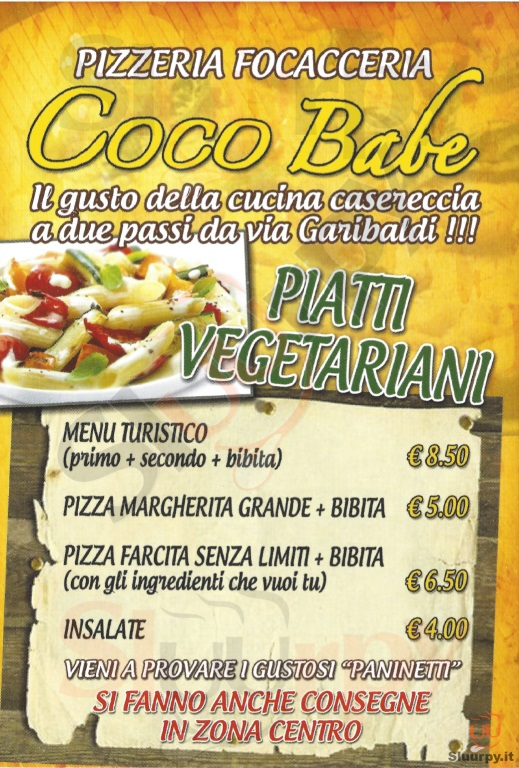 COCO BABE Torino menù 1 pagina