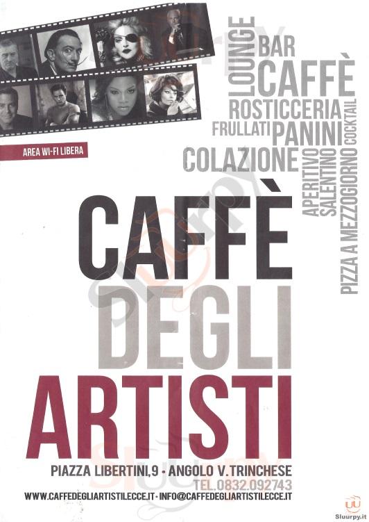 CAFFE' DEGLI ARTISTI Lecce menù 1 pagina