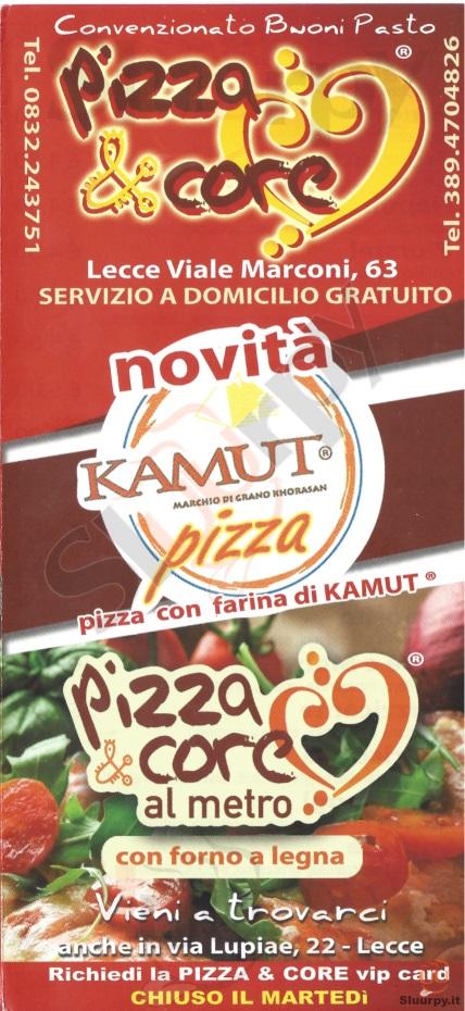 PIZZA & CORE, Via Lupiae Lecce menù 1 pagina