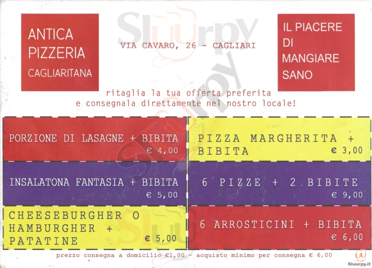 ANTICA PIZZERIA CAGLIARITANA Cagliari menù 1 pagina