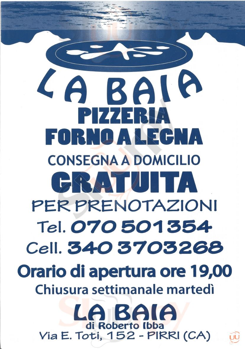 LA BAIA Cagliari menù 1 pagina