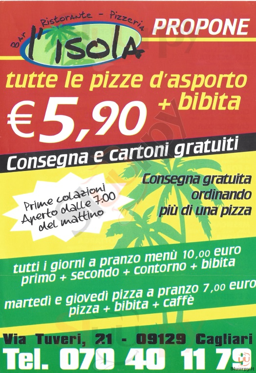 L'ISOLA Cagliari menù 1 pagina