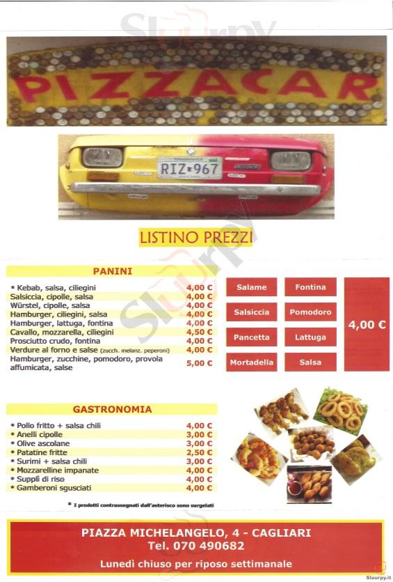 PIZZA CAR Cagliari menù 1 pagina
