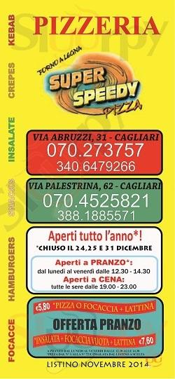SUPER SPEEDY PIZZA, Via Abruzzi Cagliari menù 1 pagina