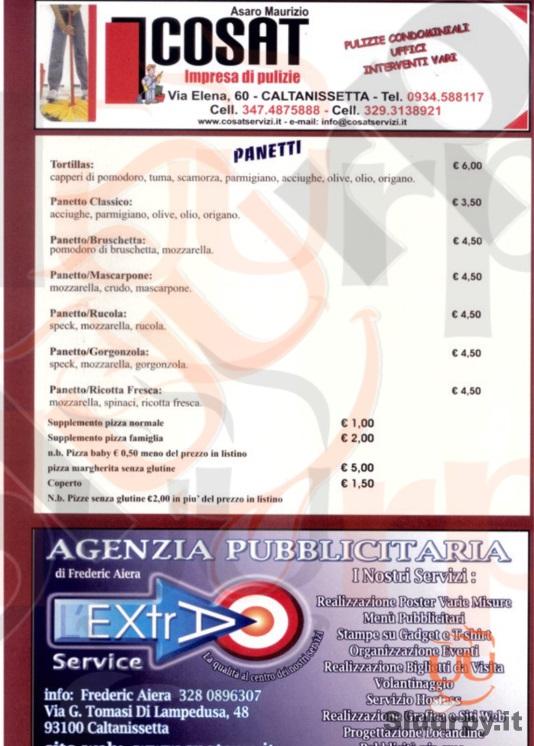 AL RUSTICO Caltanissetta menù 1 pagina