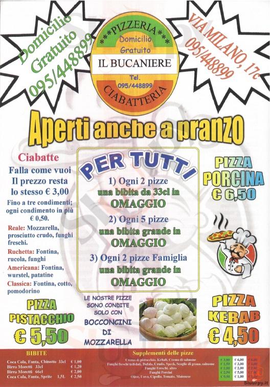 IL BUCANIERE Catania menù 1 pagina