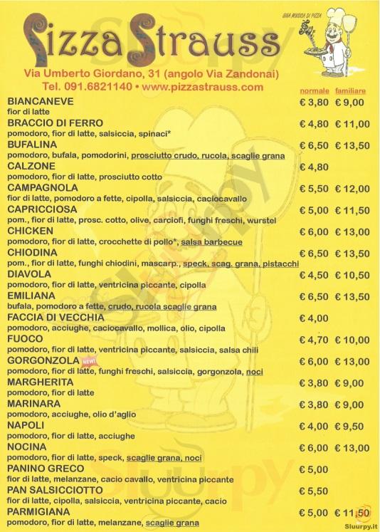 PIZZA STRAUSS Palermo menù 1 pagina