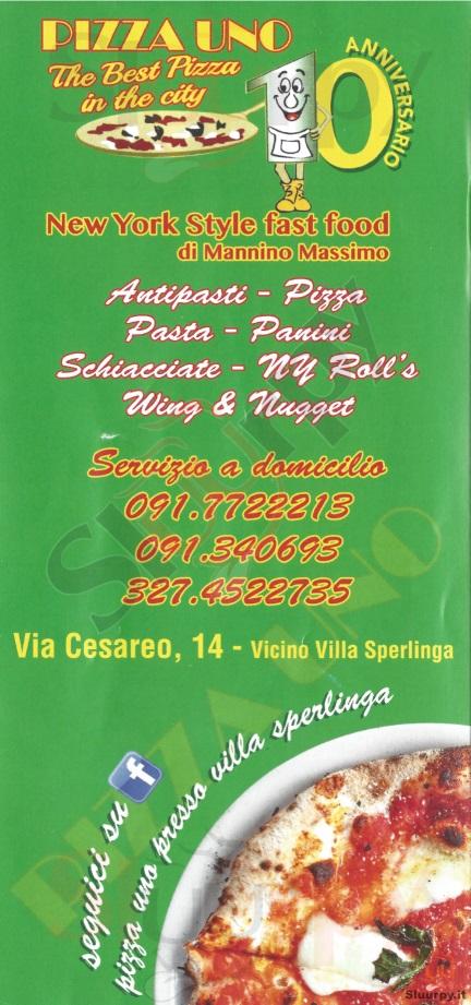 PIZZA UNO, Via Cesareo Palermo menù 1 pagina