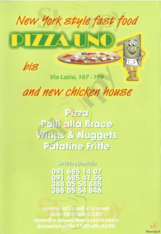 PIZZA UNO, Viale Lazio Palermo menù 1 pagina