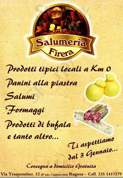 SALUMERIA FIRERA Ragusa menù 1 pagina
