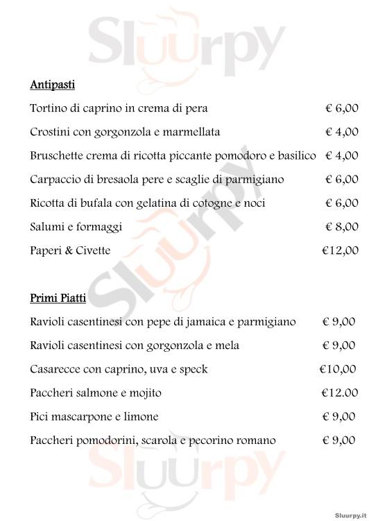 PAPERI & CIVETTE Arezzo menù 1 pagina