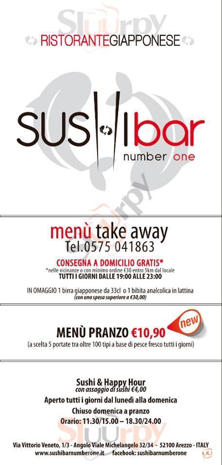 SUSHI BAR NUMBER ONE Arezzo menù 1 pagina