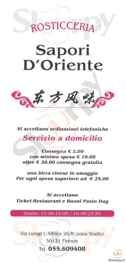 SAPORI D'ORIENTE Firenze menù 1 pagina