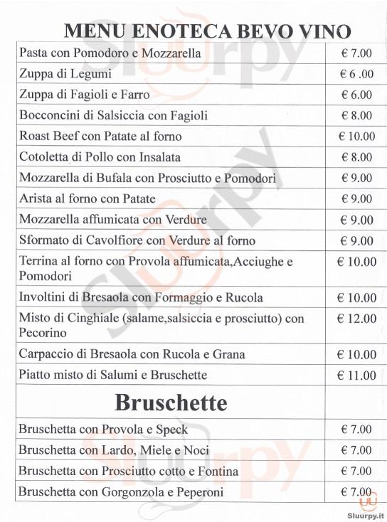 BEVO VINO Firenze menù 1 pagina