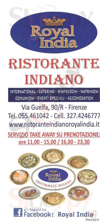 Royal India Firenze menù 1 pagina