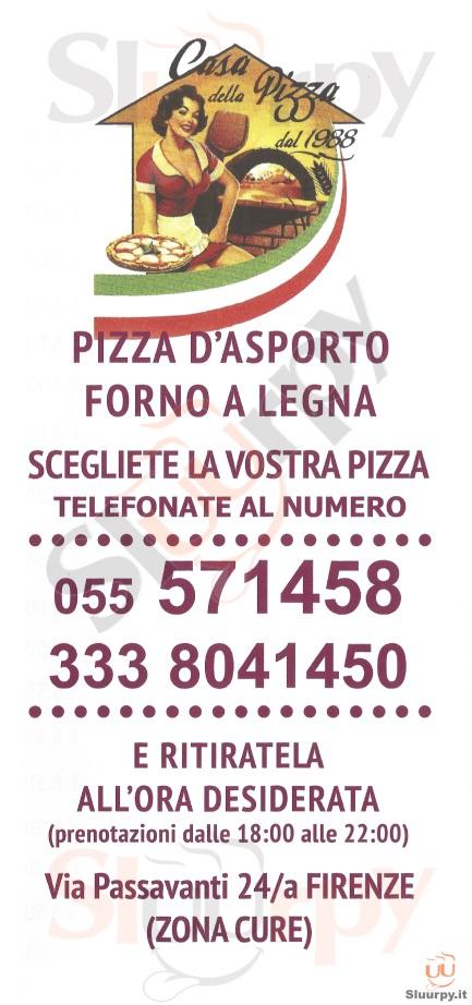 CASA DELLA PIZZA Firenze menù 1 pagina