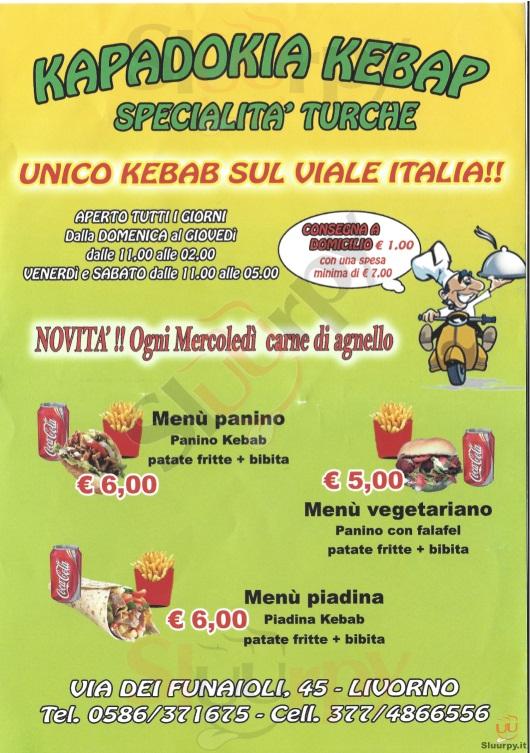 KAPADOKIA KEBAP Livorno menù 1 pagina