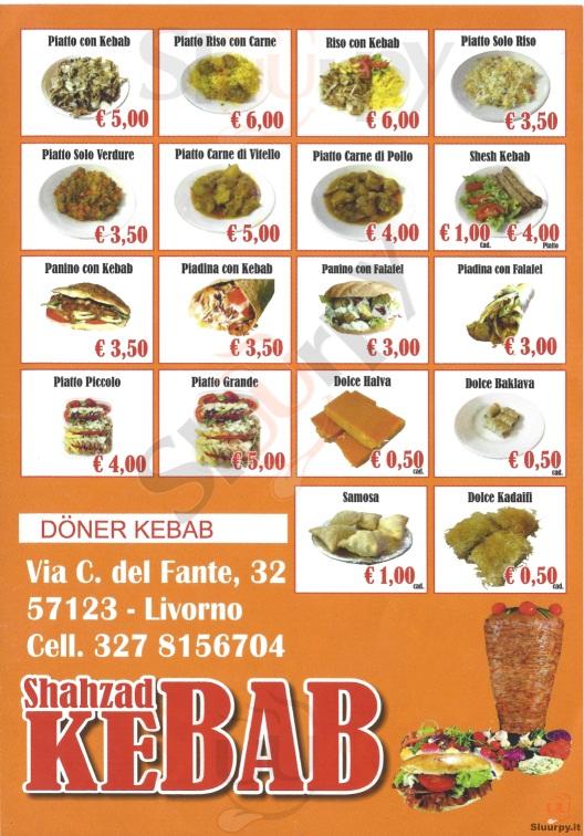 SHAHZAD KEBAB Livorno menù 1 pagina