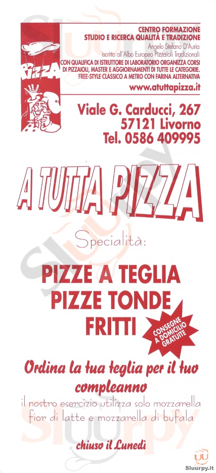 A TUTTA PIZZA Livorno menù 1 pagina