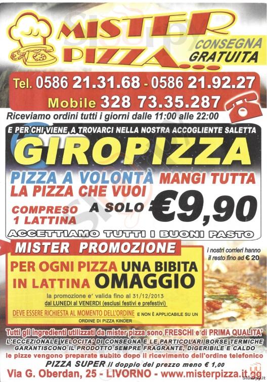 MISTER PIZZA Livorno menù 1 pagina