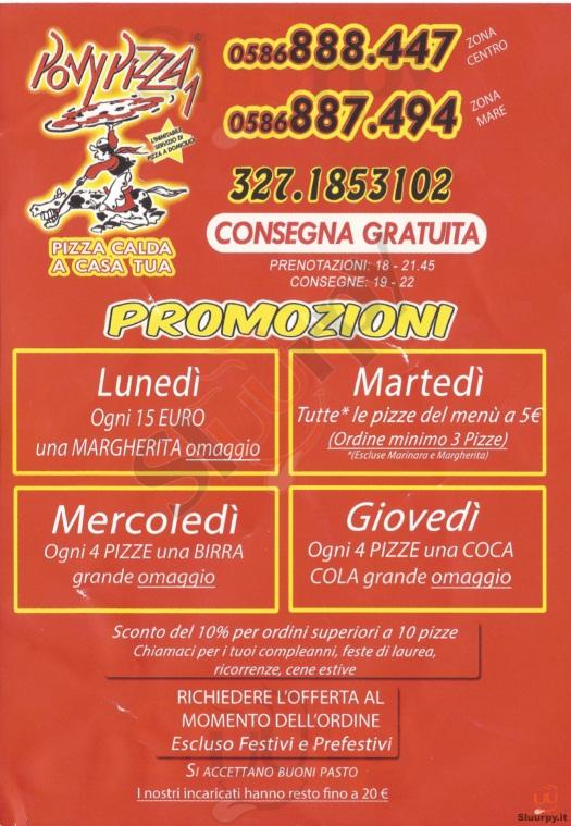 PONY PIZZA 1 Livorno menù 1 pagina