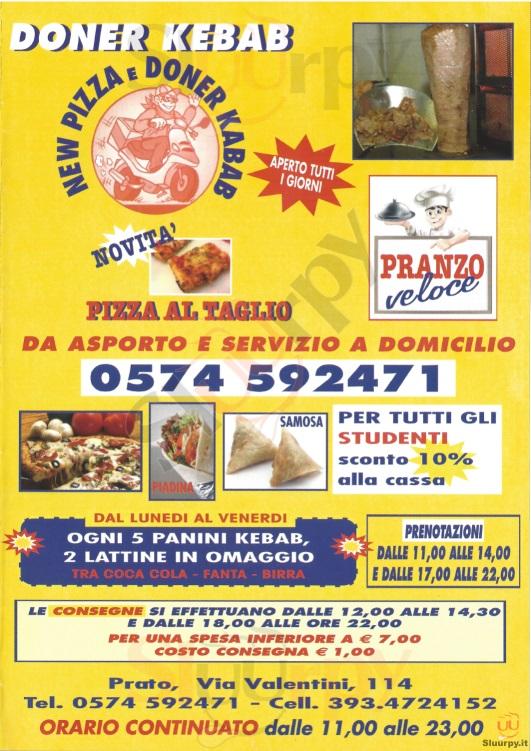 NEW PIZZA Prato menù 1 pagina