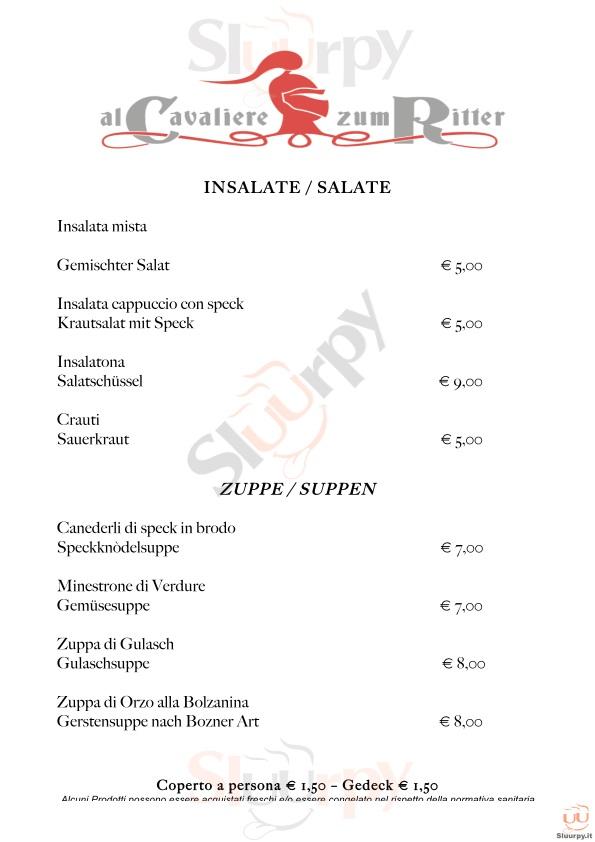 AL CAVALIERE ZUM RITTER Bolzano menù 1 pagina