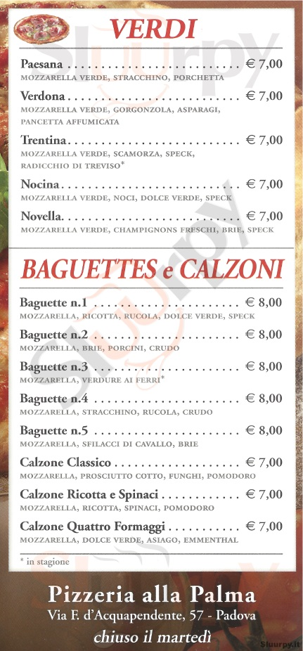 Menù ristorante ALLA PALMA a Padova