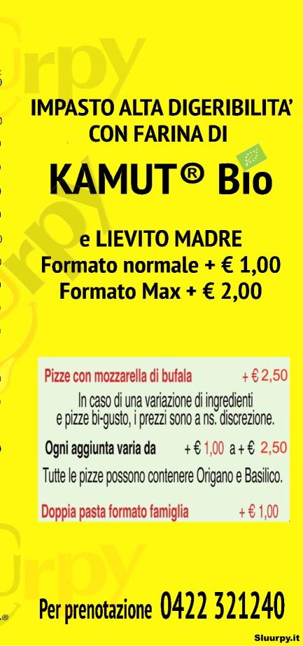 TONINO PIZZA Treviso menù 1 pagina