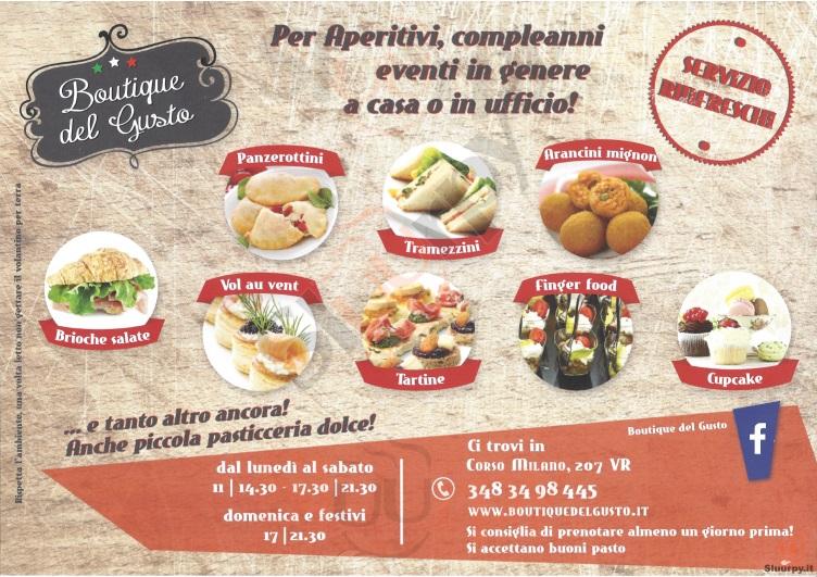 BOUTIQUE DEL GUSTO Verona menù 1 pagina