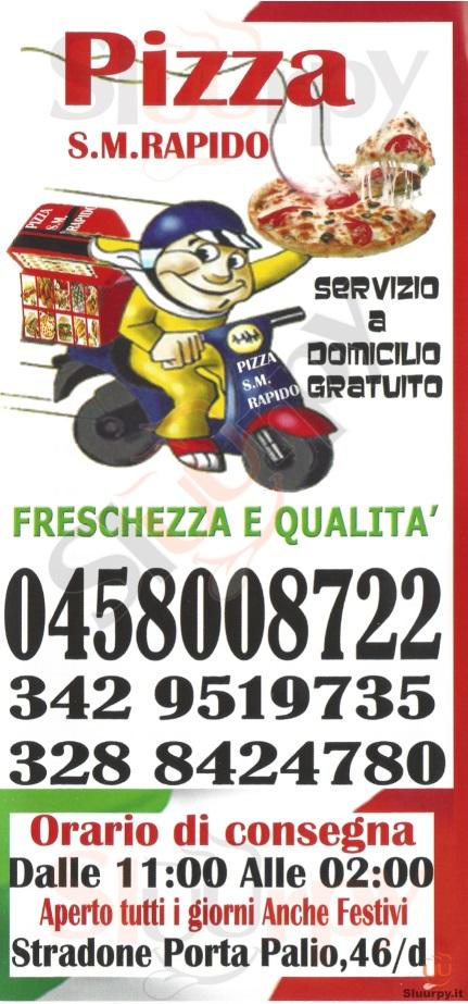 PIZZA S.M. RAPIDO Verona menù 1 pagina